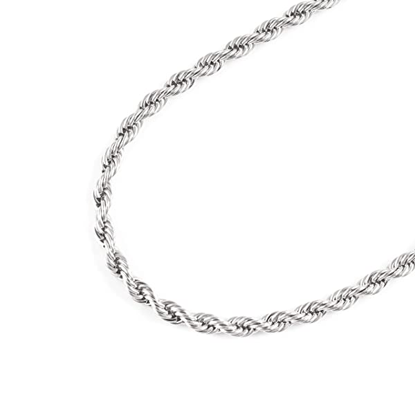 22 Inches-28 Inches Stainless Steel 4mm Twist Rope Chain Necklace
