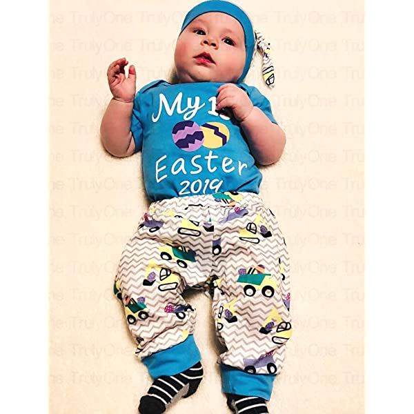 Truly One Baby Boys Girls My First Easter Gift Eggs Printed Bodysuit Pants with Hat