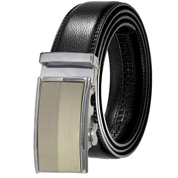 Mens Belt ITIEZY Ratchet Leather Dress Belt with Automatic Buckle in Gift Box,Trim to Fit