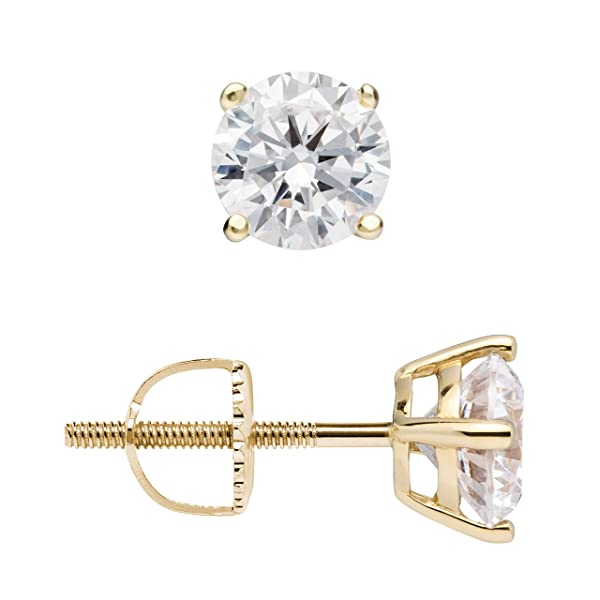 14K Solid Yellow Gold Stud Earrings Basket Set Princess Clear CZ Screw Back 2.5mm-8mm