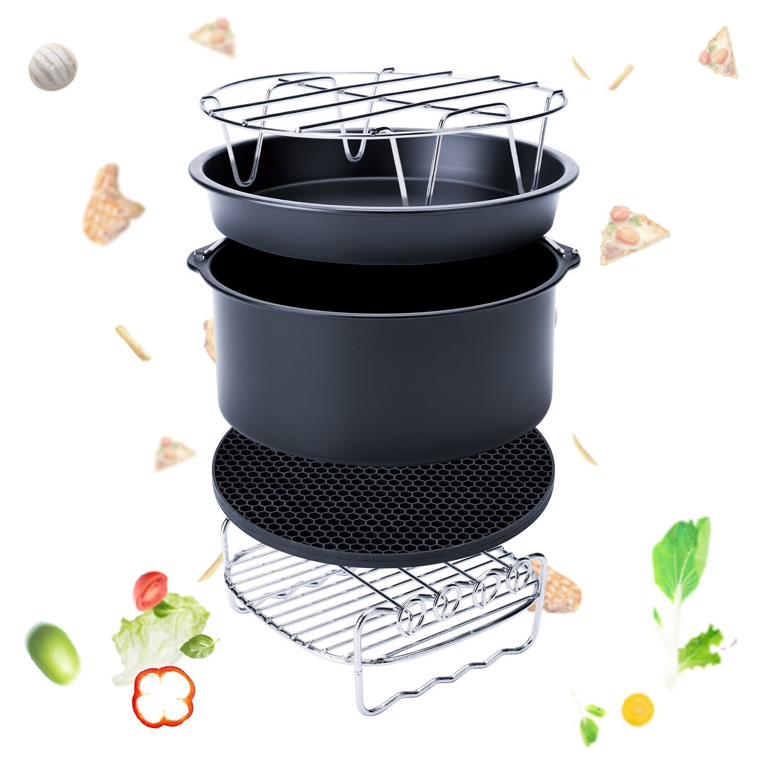 Cooking Rack Round Air Fryer Rack Stainless Steel Baking Steaming Rack W Stand Cookware Fit for Air Fryer Instant Pot Pressure Cooker Canning Set of 2 8Inch
