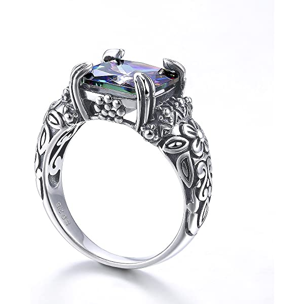 Merthus Womens 925 Sterling Silver Created Mystic Rainbow Topaz Cocktail Statement Ring