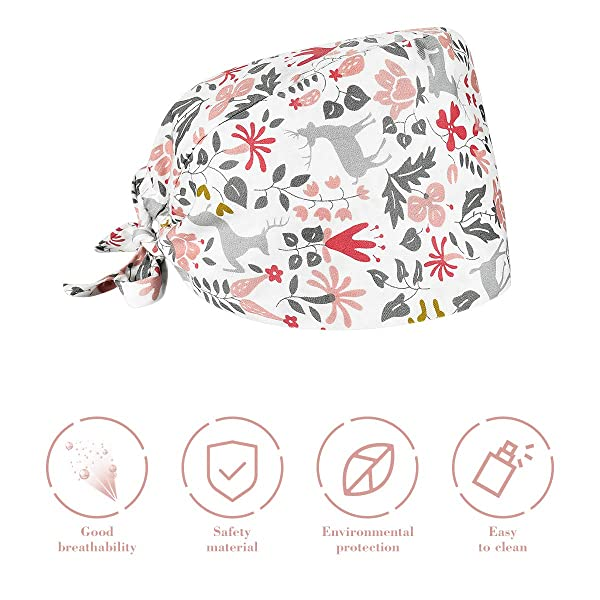FENICAL Adjustable Surgical Scrub Cap Cotton Nurse Doctor Hat Cat Print Cap Surgery Hat
