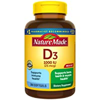 Nature Made Vitamin D3 1000 IU (25 mcg) Softgels, 300 Count for Bone Health† (Packaging...