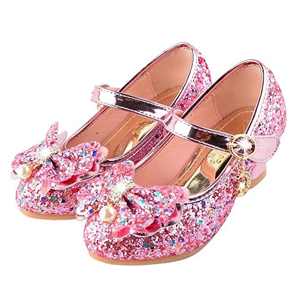 YIBLBOX Toddler Girls Glitter Butterfly Wedding Party Dress Princess Shoes Mary Janes Flats Sandals