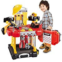 Toy Choi's 83 Pieces Kids Construction Toy Workbench for Toddlers Kids Workbench...