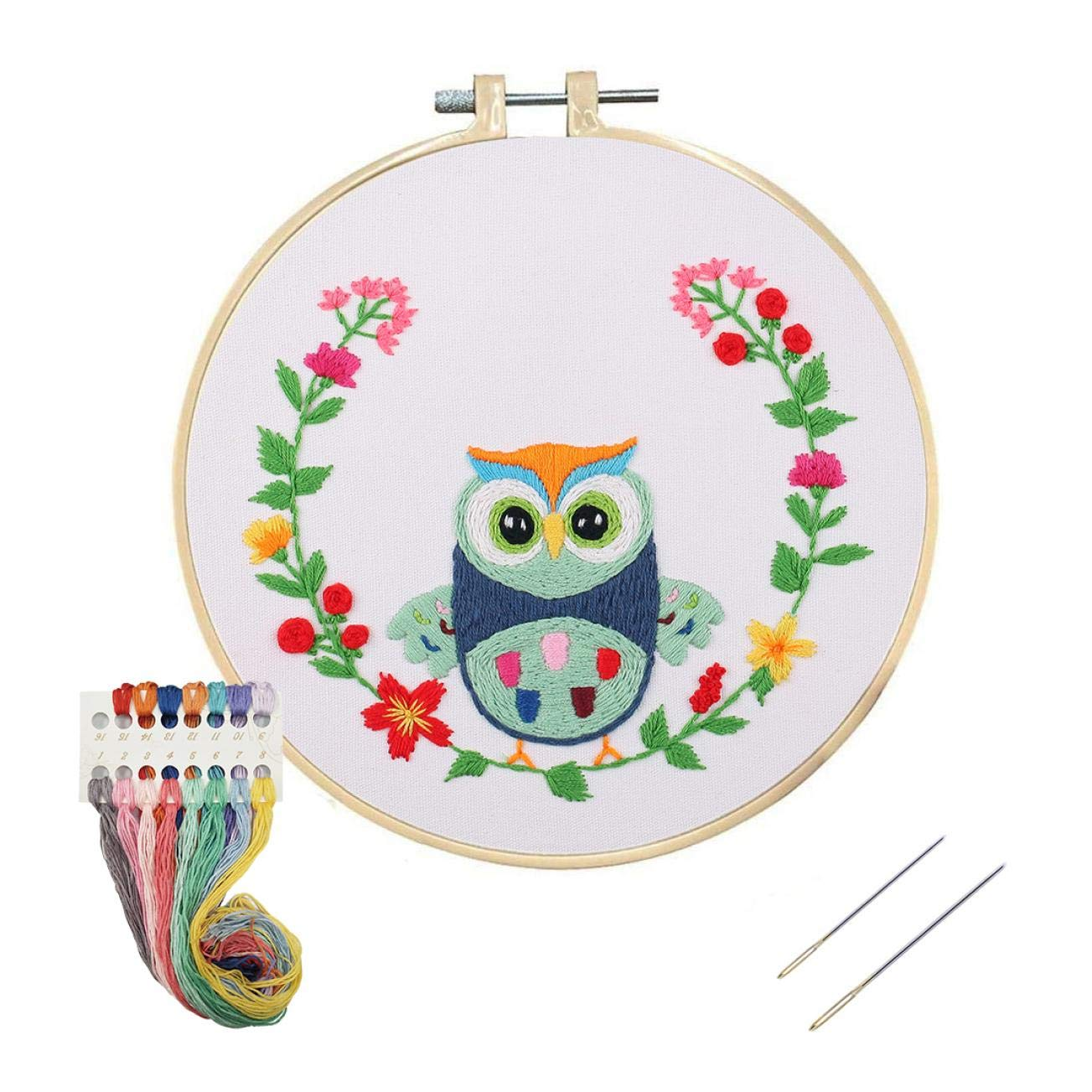 WODISON Beginner Stamped Cross Stitch Kit with Cute Animal Pattern Including Embroidery Hoops Floss Thread Fabric Needles