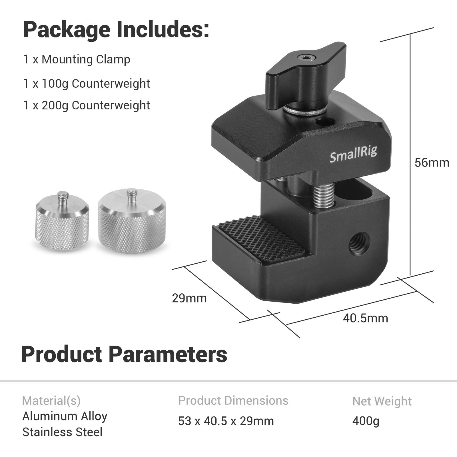 BSS2274 Upgrate Counterweight /& Mounting Clamp Kit for DJI Ronin-S//Ronin-SC and Weebill//Crane Series Gimbals BSS2465 SMALLRIG