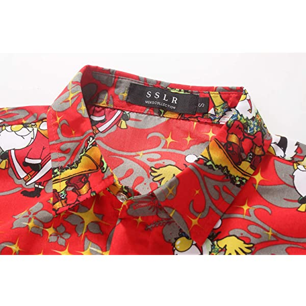 SSLR Big Boys Xmas Party Casual Hawaiian Ugly Christmas Shirt