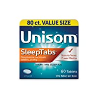 Unisom SleepTabs, 80 Count, Non-Habit Forming Sleep Aid, Great for Difficulty Falling...