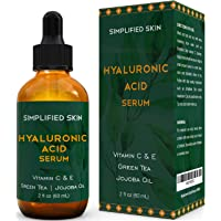 Hyaluronic Acid Serum for Face & Eyes (2 oz) with Vitamin C, E & Green Tea for Anti-Aging...