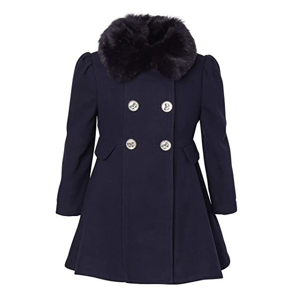Jessica Simpson Girls Faux Wool Dress Coat Jacket with Cozy Collar Dress Coat