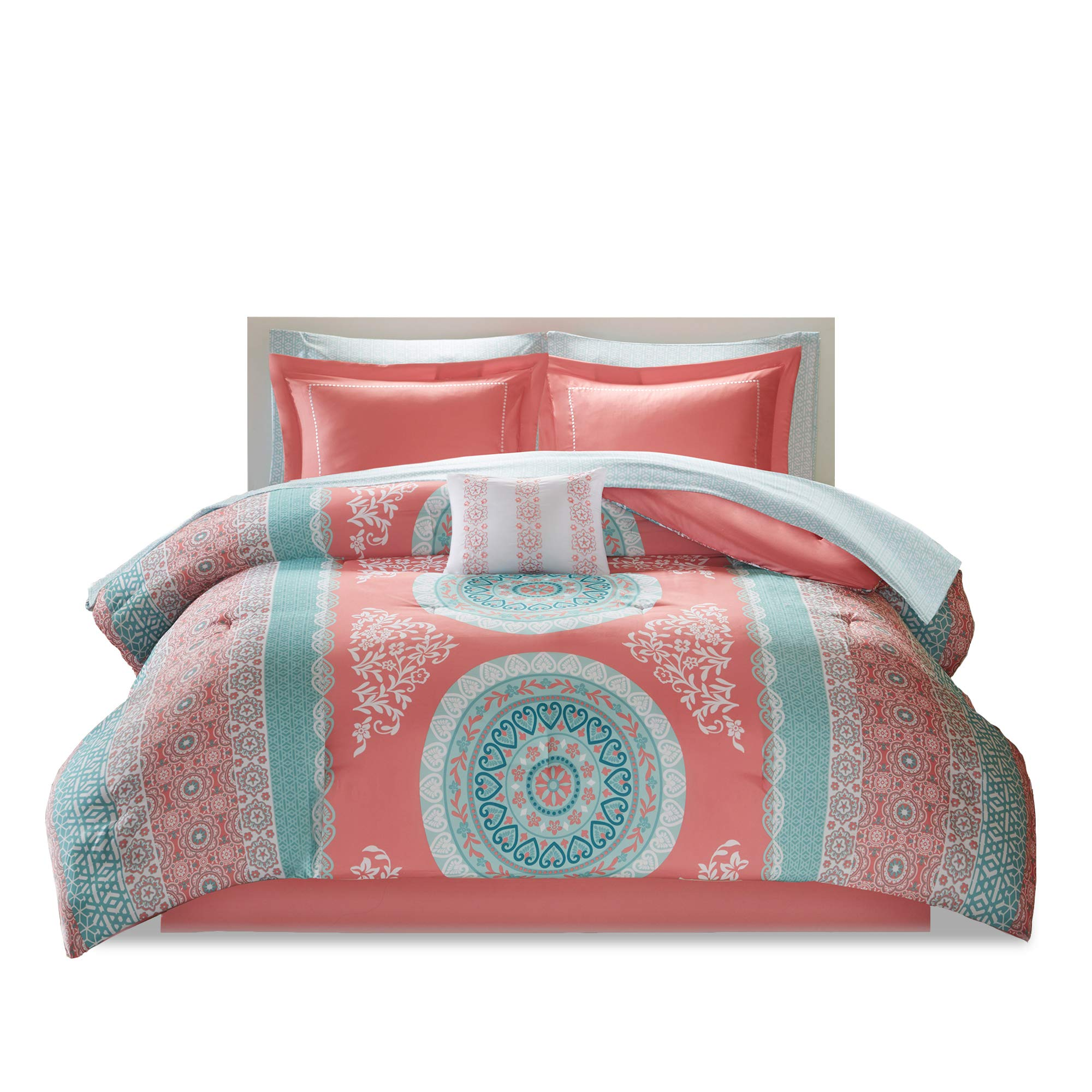 Bed Room Twin XL Twin Bed Comforter 1 Sham /& 1 Dec Pillow- Adele Includes 1 Comforter Fits Twin and Twin XL- 3 Piece All Season Bed in A Bag Set- Aqua /& Grey