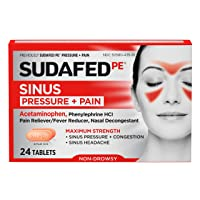 Sudafed PE Sinus Pressure + Pain Relief Maximum Strength Non-Drowsy Decongestant...
