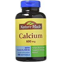 Nature Made Calcium 600 Mg with Vitamin D 100 Liquid Softgels (2 Pack)