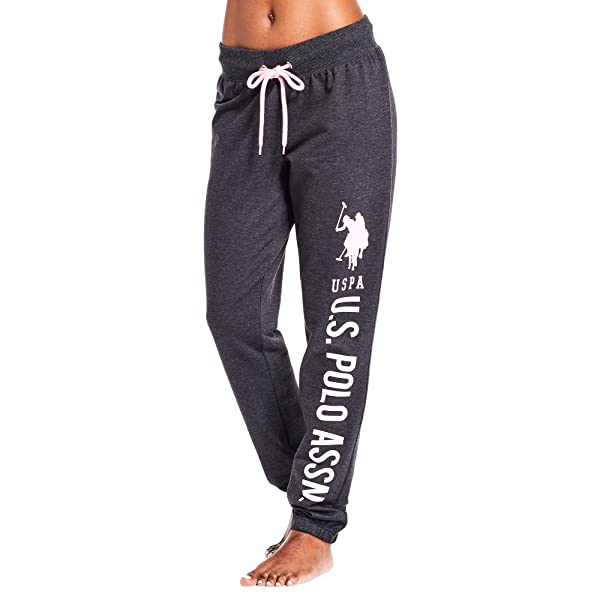 U.S. Polo Assn. Essentials Womens Printed French Terry Boyfriend Jogger Sweatpants Dark Charcoal Heather X-Large