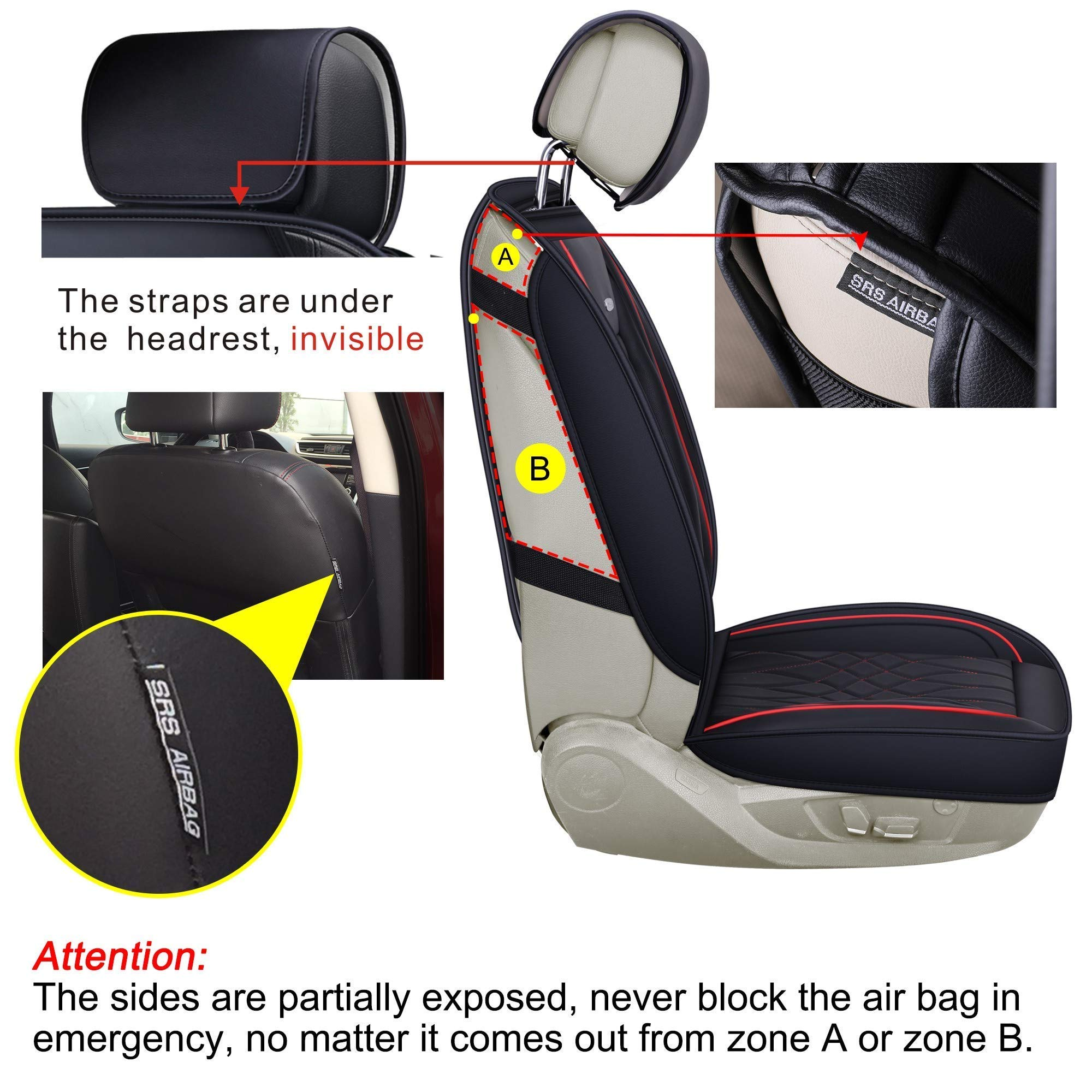 Piping Lights Up with Music,Airbag Compatible with USB Connection Truck CAR PASS Waterproof Car Seat Covers with LED Light Fit Most Car Black,1 Piece SUV Van