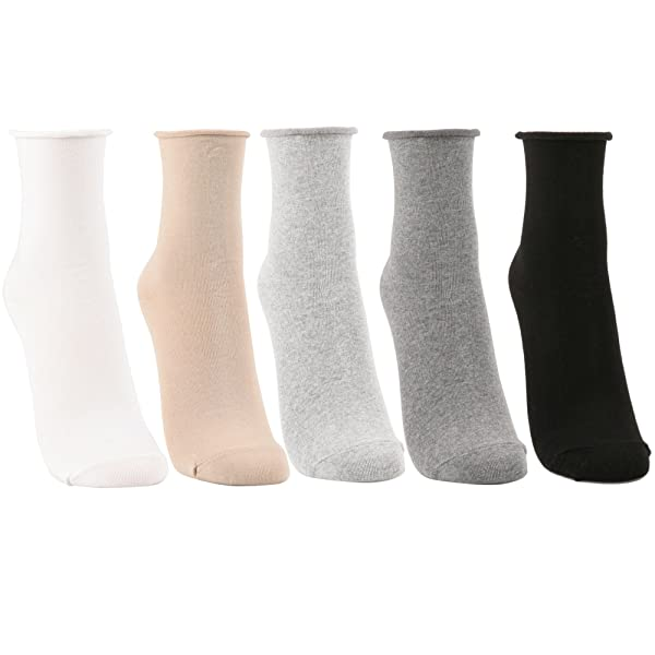 Women's Roll Top Ankle High Cotton Socks 5pair or 6pair (One Size, 5Pair-White/Beige/Gray/Lt Gray/Black)