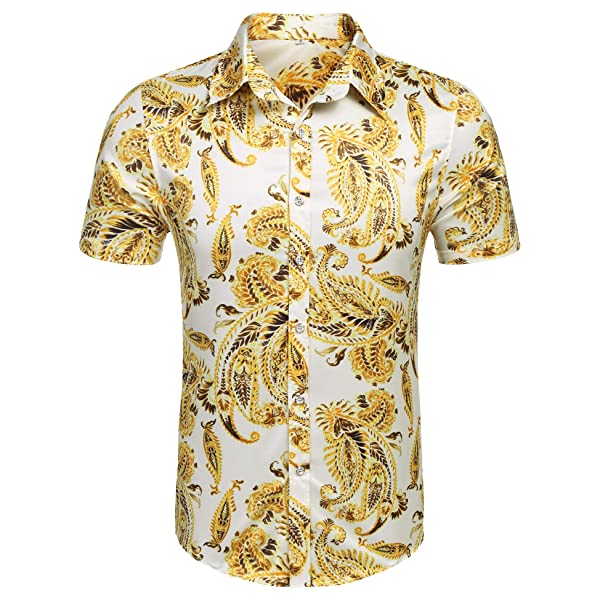 Gergeos Mens Button Down Shirts Large Size Long Sleeve Luxury Retro Printed Casual Shirts