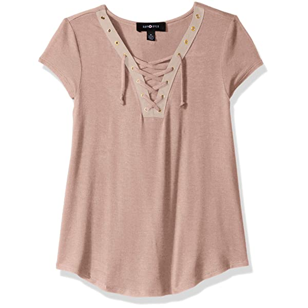 Amy Byer Girls Big Short Top with Lace Sleeve Detail