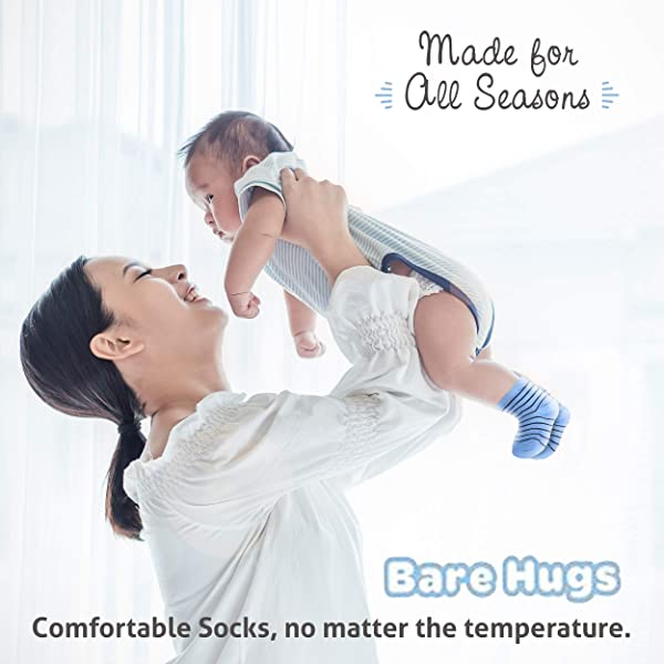 BARE HUGS Infant Boys All Weather No Show Socks 10 Pack 6-12 and 12-24 Months