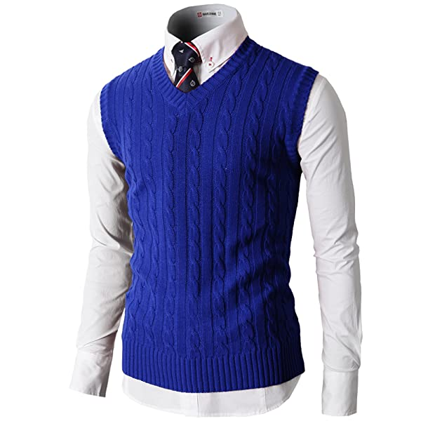 H2H Mens Slim Fit Sweater Vest V Neck Sleeveless Sweater Pullover Sweaters Cable Knitted with Ribbing Edge
