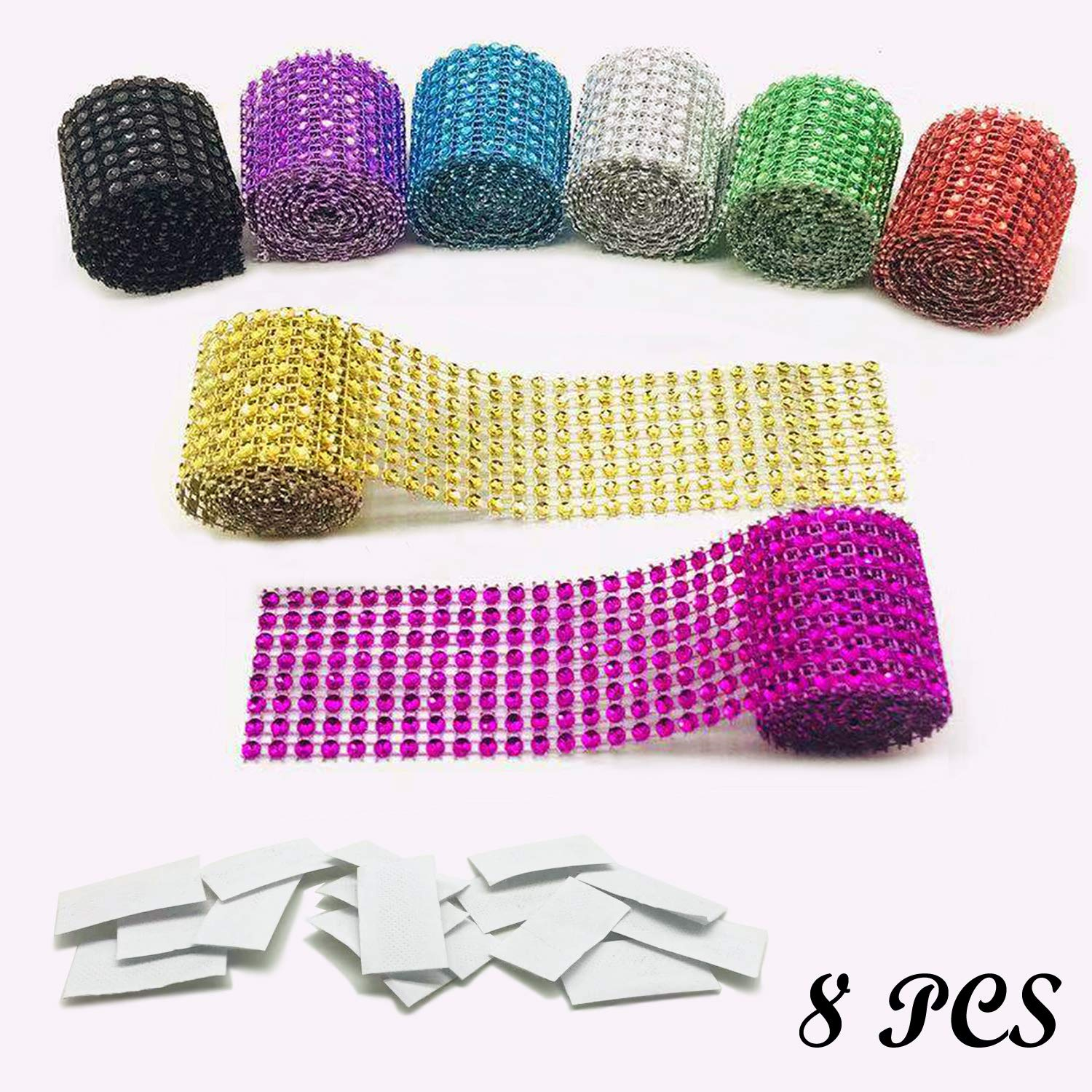 USIX 16 Rows-4.3 Wide Artificial Sparkling Glitter Pyramid Shaped Rhinestone Diamond Mesh Ribbon Webbing Wrap for DIY Arts Craft Sewing Wedding Bouquet Cake Birthday Party Decor Silver
