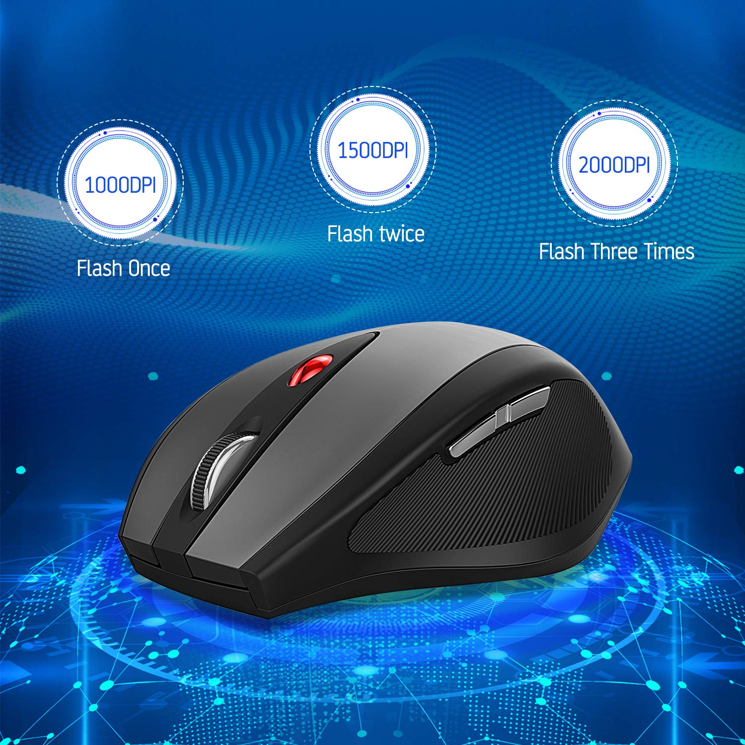 Color : Red FANHUA Mouse Mouse 2.4GHz Wireless Gaming Mouse USB Receiver