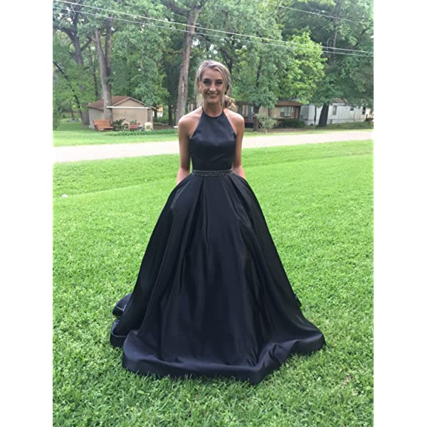 YORFORMALS Womens Off The Shoulder A-line Beaded Satin Prom Dress Long Evening Ball Gown with Pockets