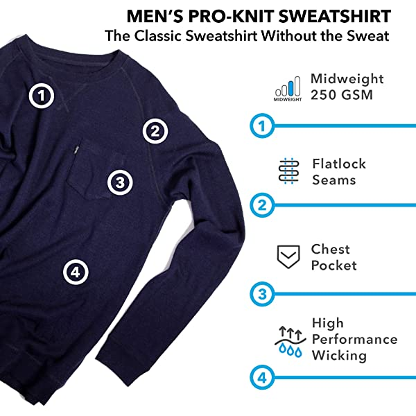 Mid Weight Woolly Clothing Womens Merino Pro-Knit Wool Crew Neck Sweatshirt Wicking Breathable Anti-Odor
