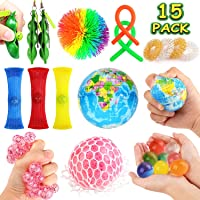 JVIGUE Sensory Toys Set- 15 Pack Stress Relief Hand Fidget Toys for Kids and Adults...