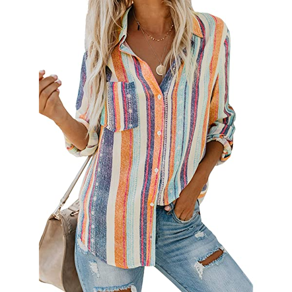 Biucly Womens Casual Floral Print V Neck Button Down Bell Sleeves Stylish Tops Loose Blouse Shirts Pullover S-2XL
