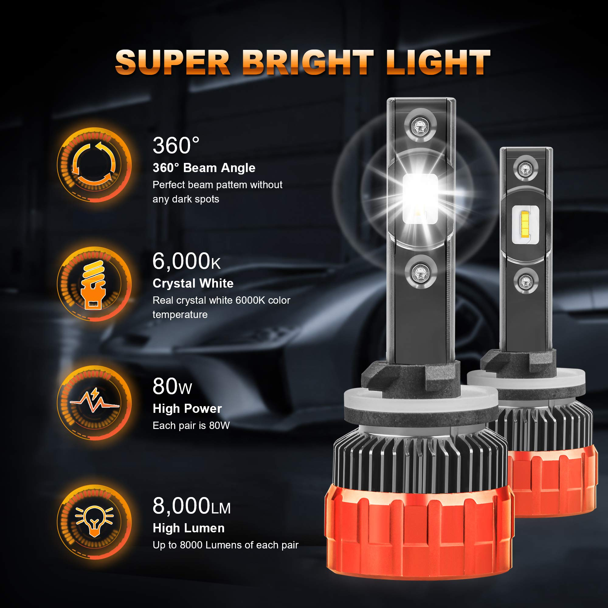 MOSTPLUS 8000 Lumens 80W//Pair-H11//H8//H9 All-in-One LED-TX1860 Chip Really Focused Headlight Bulbs Super Mini Conversion Kit Xenon White