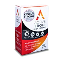 Active Iron High Potency, Non-Constipating, Iron Supplements, 25mg, 60 Capsules,...