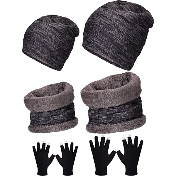 4 Pack Winter Warm Knitted Set Unisex Beanie Hat Circle Loop Scarf Touchscreen Gloves and Earmuffs