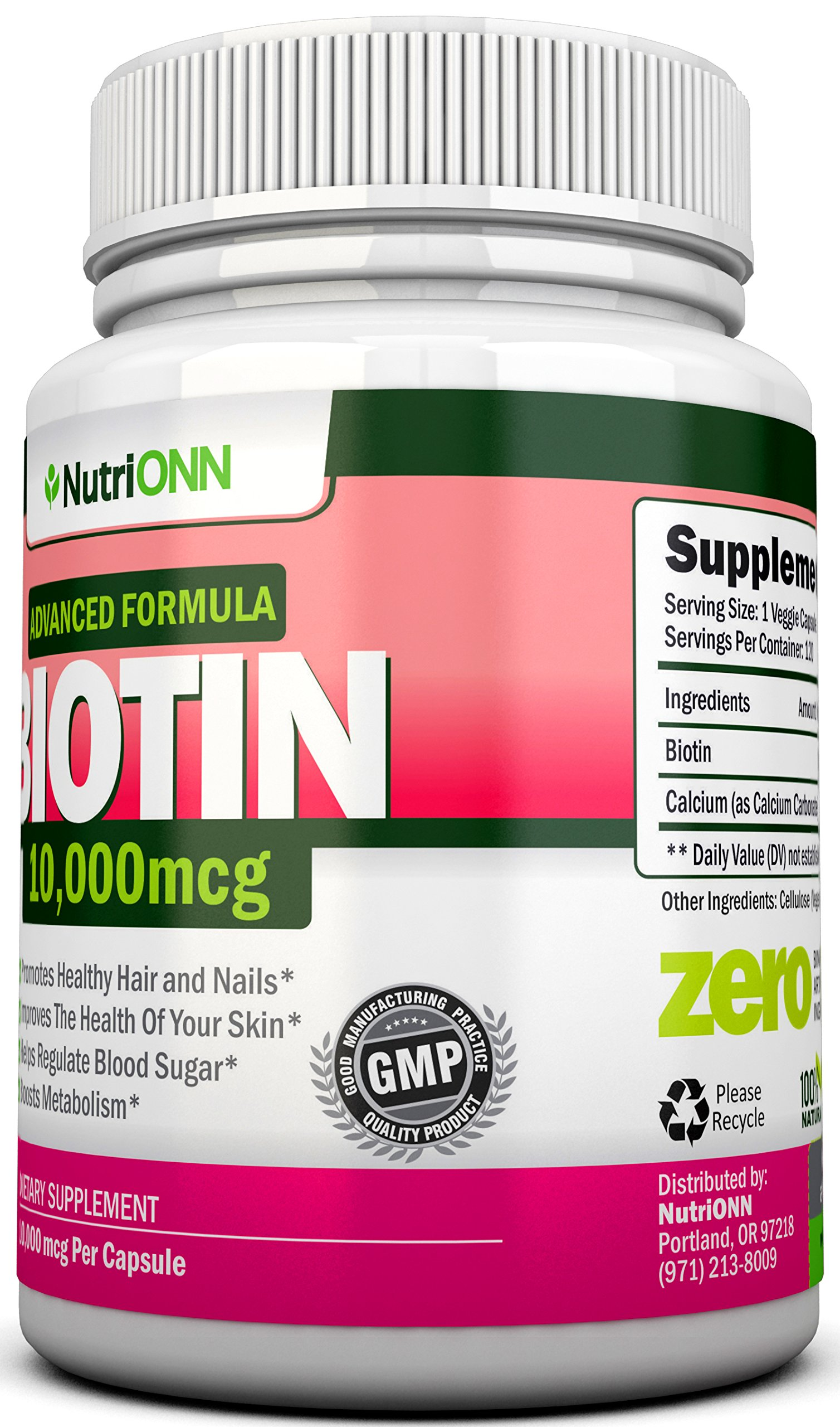 BIOTIN 10,000 MCG - 120 Capsules - Designed for Hair Growth, Strong Nails and Healthy Skin - Pharmaceutical-Grade Natural d-Biotin (Vitamin B7) - Advanced Formula to Enhance Your Results