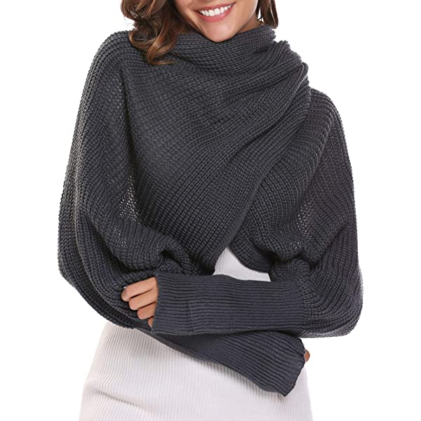 Aicos Alacos Knit Blanket Long Shawl Winter Warm Large Scarf with Sleeves for Women