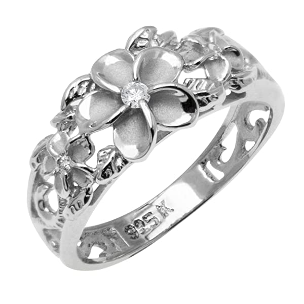 Honolulu Jewelry Company Sterling Silver Plumeria and Turtle Ring with Clear CZ and Satin Finish