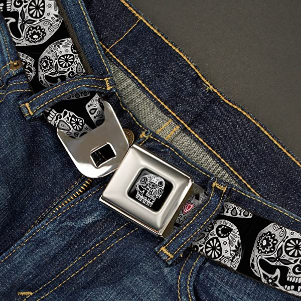 1.0 Wide Buckle-Down Seatbelt Belt The Dust of Living II Sugar Skulls Black//White 20-36 Inches in Length