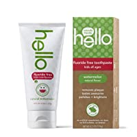 Hello Oral Care Kids Fluoride Free and SLS Free Toothpaste, Natural Watermelon,...