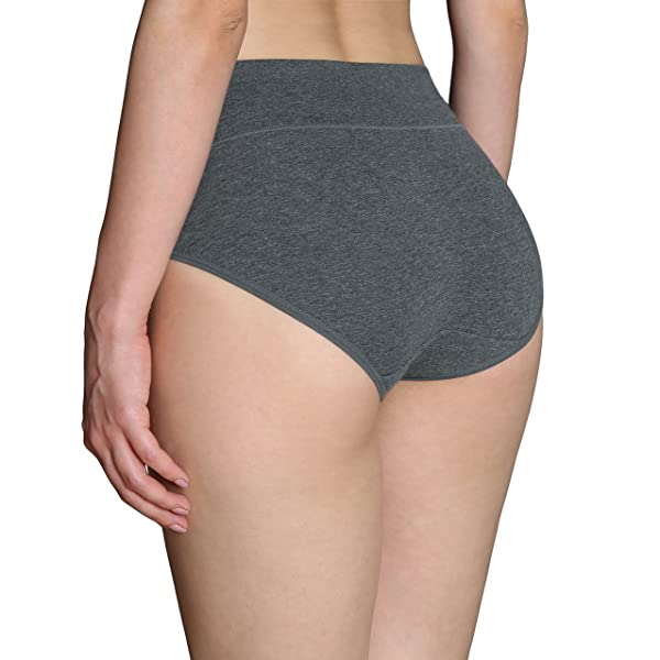 INNERSY Womens High Waisted Underwear Cotton Panties Regular & Plus Size 5-Pack(L,Darks 1)