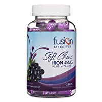 Fusion Lifestyle 45 mg Iron Supplement Grape Flavored Soft Chew Plus Vitamin C,...