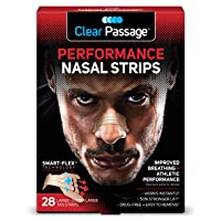Clear Passage Performance Nasal Strips for Athletes, Tan, 28 Count   Instantly Improves...