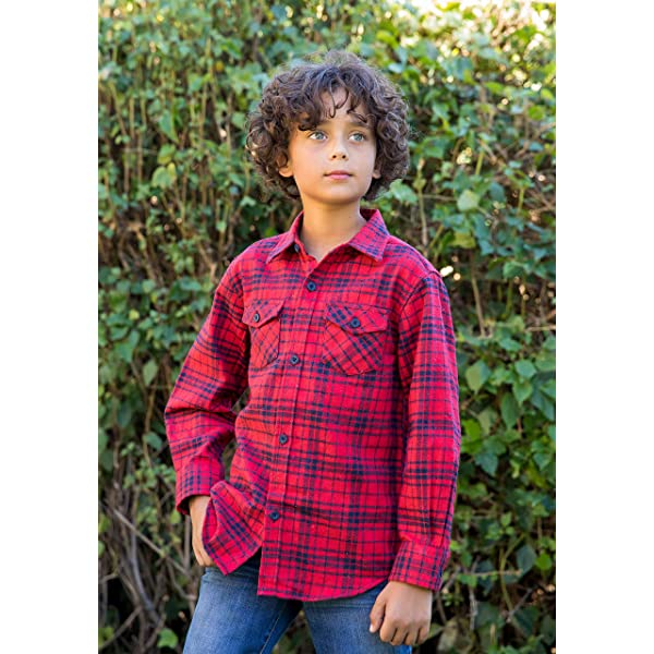 Spring/&Gege Boys Casual Long Sleeve Plaid Flannel Button Down Shirt for Children 5-14 Years