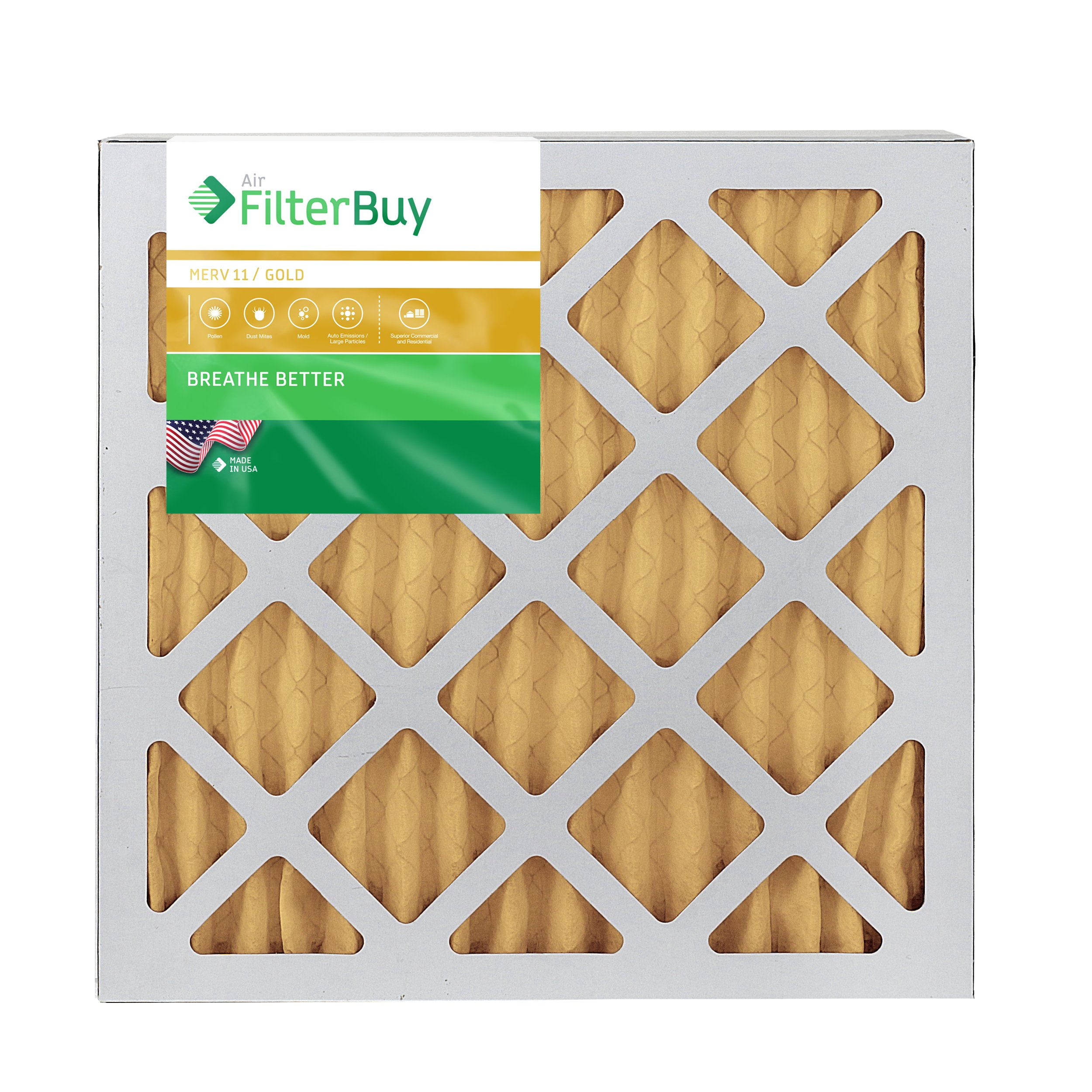 Pack of 2 Filters FilterBuy 25x25x1 MERV 11 Pleated AC Furnace Air Filter, 25x25x1 Gold