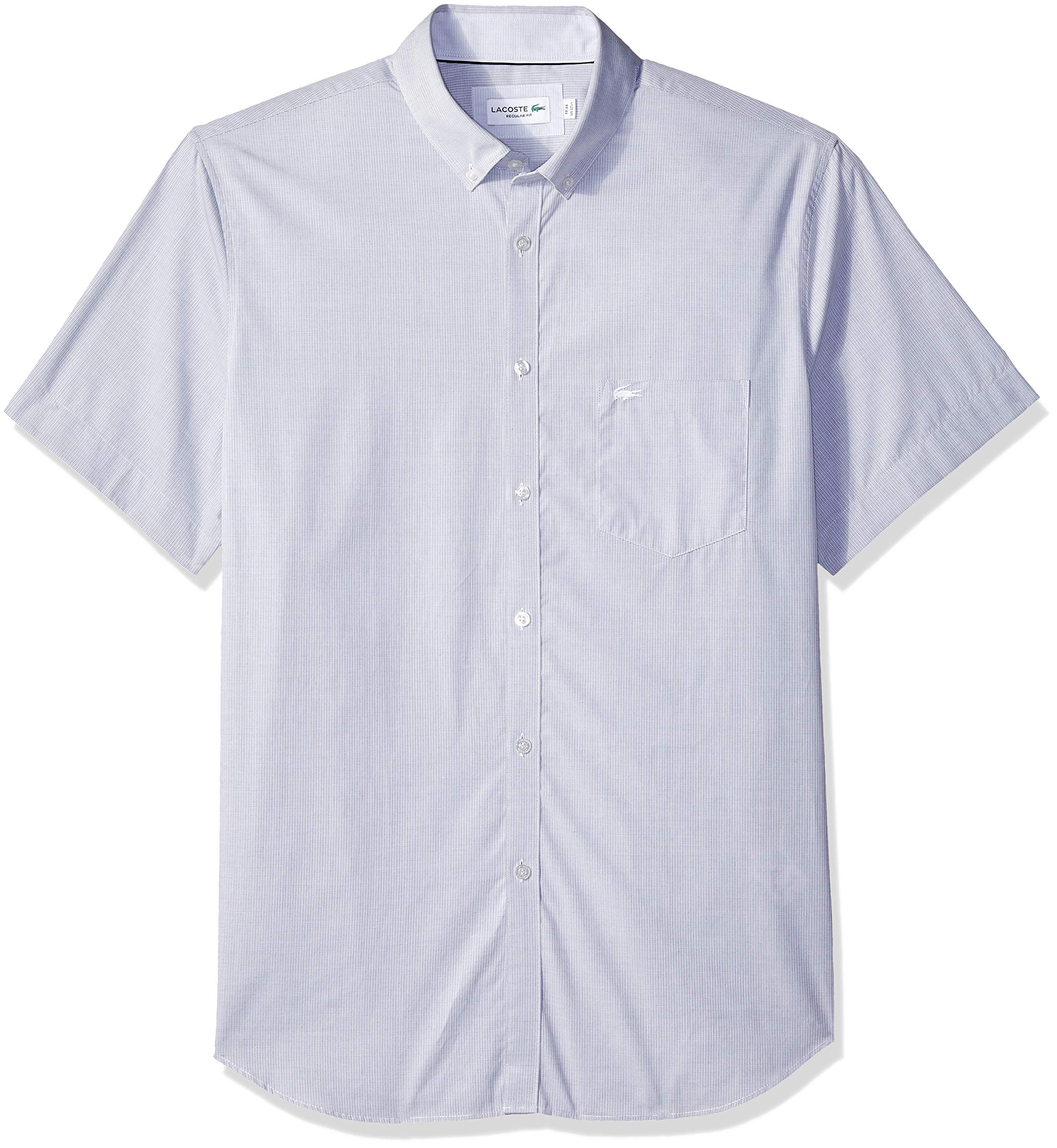 Lacoste Mens Short Sleeve Dobby Button Down Woven Shirt CH1172
